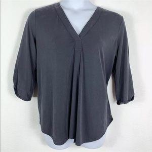Lush Womens XL Blouse Gray 3/4 Sleeve V Neck